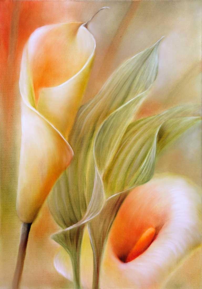 Konfiguration benutzen (Calla, Blüten, Blumen, Pflanze, Blätter, zart, filigran, floral, Malerei, Treppenhaus, Esszimmer, Wohnzimmer, Wunschgröße, bunt)