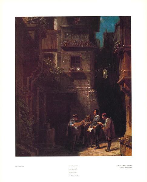 Carl Spitzweg, Nachtständchen 166 (Malerei, Klassiker, Serenade, Ständchen, Männerchor, Liebeslied, Nachtszene, Dorfstraße, Spätromantik, Wohnzimmer, bunt)