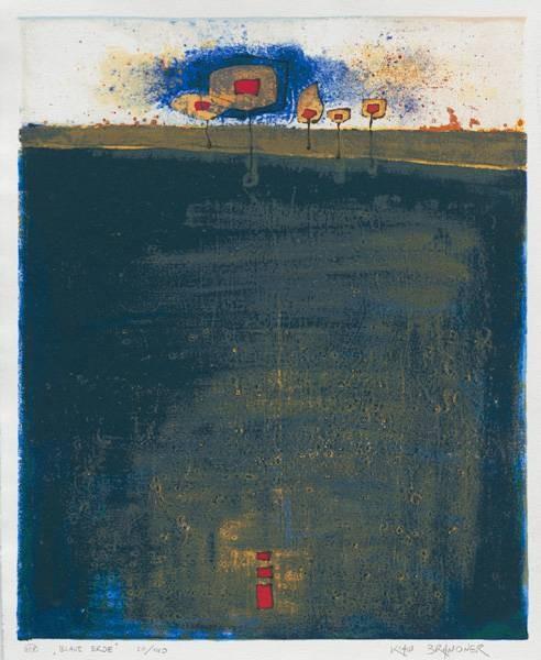 Brandner Klaus WVZ908 Blaue Erde (1998) (Siebdruck, handsigniert) (Abstrakte Kunst, Abstrakte Malerei, Leuchtturm, geomtrische Formen, abstrakte Muster, Original, signiert, Wohnzimmer, Treppenhaus, leuchtend, bunt)