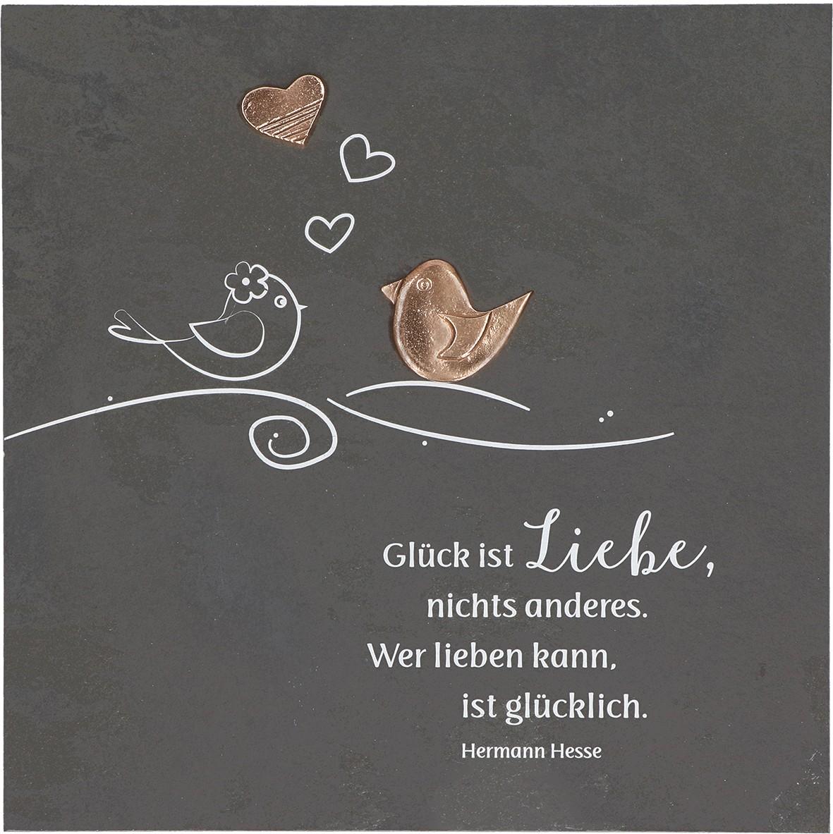Schieferrelief Glück ist Liebe, 29 x 29cm