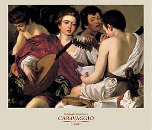 Michelangelo Caravaggio, I musici (Offset) (Musiker, Lautespieler, Jungen, Jünglinge, Üben, Klassiker, Barock, Esszimmer, Wohnzimmer, Malerei,  bunt)