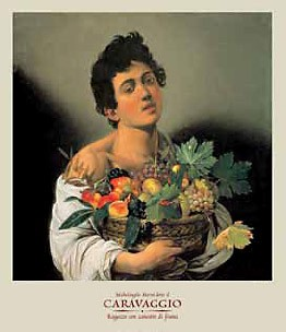 Michelangelo Caravaggio, Ragazzo con canestro di frutta (Offset) (Junge, Jüngling, Obstkorb, Trauben, Bacchus, Früchte, Klassiker, Barock, Esszimmer, Wohnzimmer, Malerei, Wunschgröße, bunt)