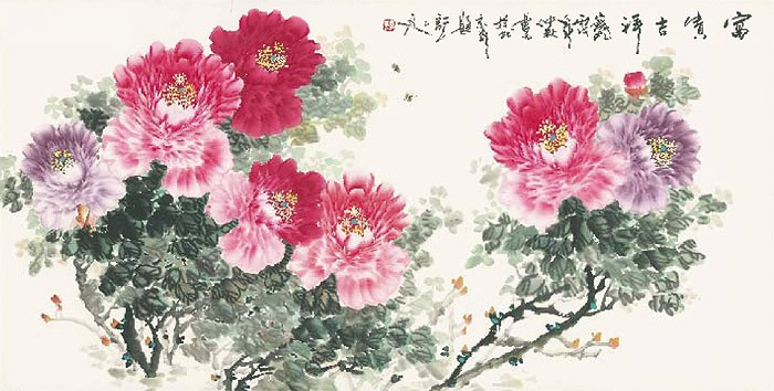 Ji An China Shen, Eleganz, Beautiful Life (Asiatische Kunst, Blüten, Blütenzweig, Blütenpracht, Aquarell, chinesische Schriftzeichen, Schlafzimmer, Treppenhaus, Wohnzimmer, bunt)