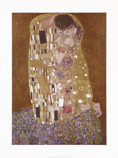 Gustav Klimt, Der Kuss (Klassische Moderne, dekorativ, Jugendstil, Eros&People, Frau, Mann, Umarmung, Erotik, Ornamente, geometrische Formen, bunt, Wohnzimmer, Treppenhaus, Schlafzimmer, Malerei)