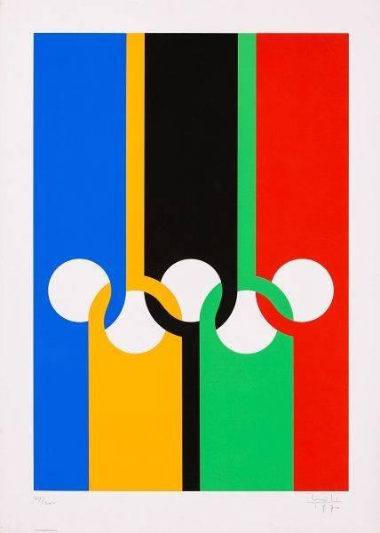 Bill Max Olympia München (20) (Siebdruck, handsigniert, nummeriert) (Olympische Ringe, Streifen, Kreise, Abstrakte Kunst, Grafik, Büro, Wohnzimmer, Treppenhaus, Original, signiert, bunt)