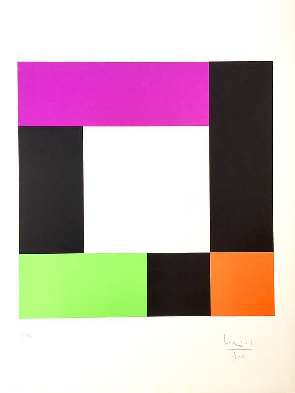Bill Max o.T.  (20) (Siebdruck, handsigniert, nummeriert) (Quadrat, Rechtecke, Vierecke,  geometrische Form, Abstrakte Kunst, Grafik, Büro, Wohnzimmer, Treppenhaus, Original, signiert, bunt)