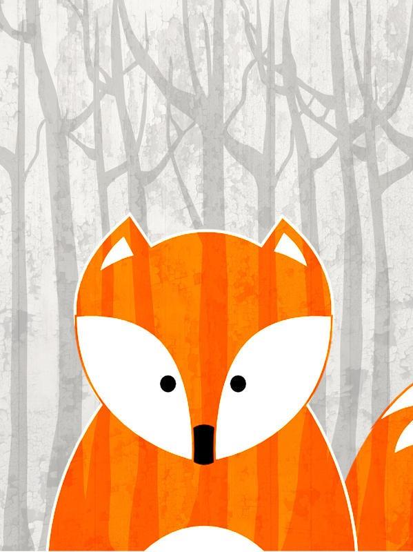Kimberly Allen, WOODLAND FOX (Fuchs, Wald, stilisiert, Malerei, niedlich, naiv,  Tier, zeitgenössisch, Wohnzimmer, Treppenhaus,  Kinderzimmer, Wunschgröße, bunt)