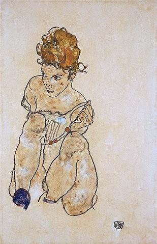 Egon Schiele, Sitzendes Mädchen in Unterkleid. 1917 (Expressionismus, Gouache/Aquarell/Kreide, Expressionismus, Mädchen, junge Frau,sitzen, Sitzende, hocken,Hockende, rothaarig, rote Haare, Kette, Halskette, Schlafzimmer, Wohnzimmer, Wunschgröße, bunt)