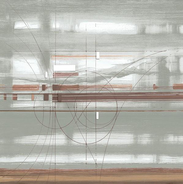 John Bate, D.N.A. I (Abstrakte Kunst, Technik, Muster, Linien, Wunschgröße, Treppenhaus, Wohnzimmer, Büro, modern, zeitgenössische Malerei, hellgrau/braun)