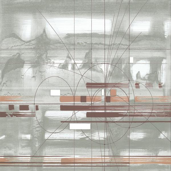 John Bate, D.N.A. II (Abstrakte Kunst, Technik, Muster, Linien, Wunschgröße, Treppenhaus, Wohnzimmer, Büro, modern, zeitgenössische Malerei, hellgrau/braun)