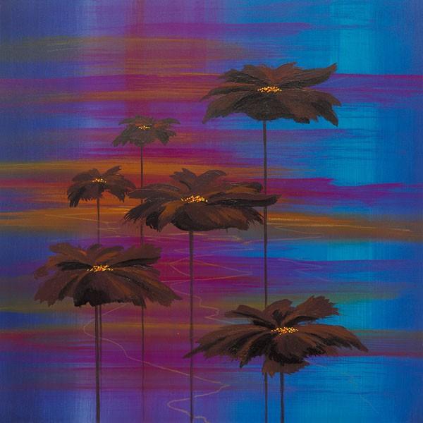 John Bate, COSMIC POPPIES II (Abstrakte Kunst, floral, Blumen,  Blüten, Wunschgröße, Treppenhaus, Wohnzimmer  modern, zeitgenössische Malerei, bunt)