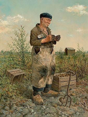 Marius van Dokkum, Farmer (Malerei, Portrait, Menschen, Mann, Bauer, Kartoffelernte, Mistgabel, Arbeit, Feldarbeit, Treppenhaus, Wohnzimmer, bunt)