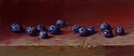 Jef Diels, Blueberry (Malerei, Stillleben, Früchte, Beeren, Blaubeeren, Heidelbeeren, Holztisch, roter Holztisch, abgewetzt, Küche, Esszimmer, Gastronomie, bunt)