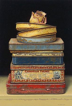 Aad Hofman, Pile of boxes (Malerei, Stillleben, Blechdosen, Stapel, Nostalgie, Blüte, Rose,  Wohnzimmer, Treppenhaus, Schlafzimmer, bunt)