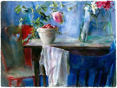 Dorry van de Winkel, August (Malerei, modern, Stillleben, Blumen,  Blüten, Blumenvase, Tisch, Obst, Stühle, Sommer,  Wohnzimmer, Esszimmer,  bunt)