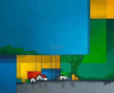 Maria Megens, No Title (Abstrakt, Architektur, Häuser, Rechtecke, Farbfelder, Wohnzimmer, Büro, Arztpraxis, bunt)