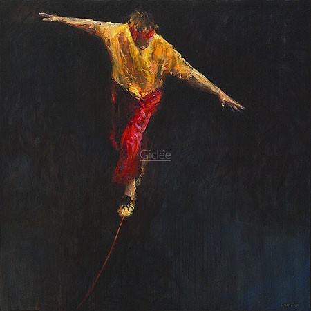 Dinie Boogaart, Thightrope Walker (Malerei, Menschen, Akrobatik, Seiltänzer, Balance, Gleichgewicht, Schweben, impressionistisch, Wohnzimmer, bunt)
