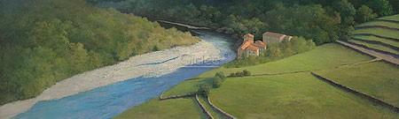 Peter Durieux, Le Bateau (Malerei, Landschaft, Natur, Felder, Landwirtschaft, Terrassen, Fluss, Sandbank, Wohnzimmer, Schlafzimmer, bunt)