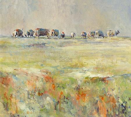 Hiske Wiersma, Sheep (Malerei, Natur, Weide, Schafe, Schafherde, Nutztiere, impressionistisch, Wohnzimmer, bunt)