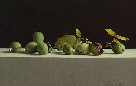 Henk Helmantel, Walnuts in shells (Malerei, Stillleben, Tisch, Nüsse, Früchte, Walnüsse, Nussschalen, Esszimmer, Küche, Wohnzimmer, bunt)