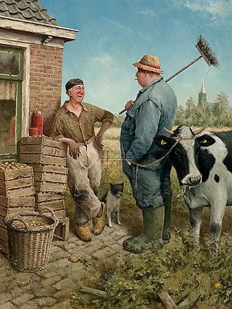 Marius van Dokkum, Tête a tête (Malerei, Karikatur, Menschen, Männer, Bauern, Fachgespräch, Bauernhof, Kuh, Männergespräch, lustig, komisch,  Treppenhaus, Wohnzimmer, bunt)