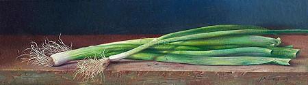 Jef Diels, Spring onion (Malerei, Stillleben, Zwiebel, Frühlingszwiebeln,  Holztisch, roter Holztisch, abgewetzt, Küche, Esszimmer, Gastronomie, bunt)