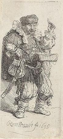 Rijn van Rembrandt, De kwakzalver (Klassische Kunst, Menschen, Typen, Quacksalber, Arzt, Niederlande, Radierung, Grafik, Barock, Wohnzimmer, Schlafzimmer, Treppenhaus, schwarz / weiß)