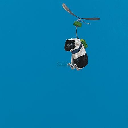 Jasper Oostland, No-name (Malerei, Tier, Meerschweinchen, fliegendes Meerschweinchen, Flugapparat, witzig, lustig, niedlich, komisch, Schlafzimmer, Tierarztpraxis, blau / bunt)