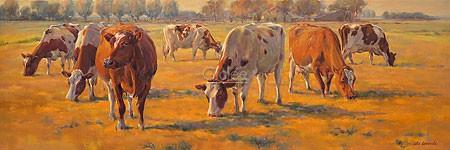 Geke Steenmetz, Autumn (Malerei, Natur, Kühe, Nutztiere, Tiere, Landschaft, Morgenlicht, Weide, Herbst, Wohnzimmer, Tierarztpraxis, Treppenhaus, bunt)