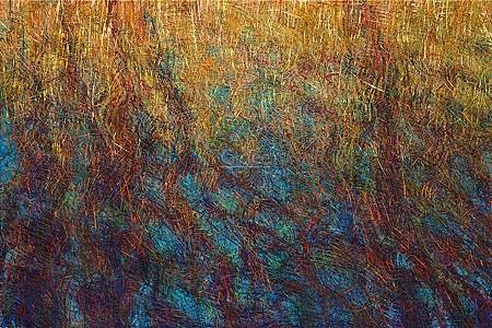 Henrie Vogel, Water reflection, Reed (Malerei, abstrakt, zeitgenössisch, Wellen, Bewegung, filzig, haarig,  Wohnzimmer, Treppenhaus, Büro, bunt)