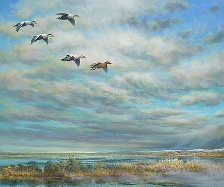 Erik van Ommen, Geese (Vögel, Wasservögel, Gänse, Wildgänse, Zugvögel, Himmel, Flug, Fernweh, Sehnsucht, Malerei,  Malerei, Treppenhaus, Wohnzimmer, bunt)
