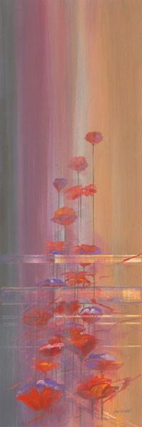 John Bate, FADED MEMORIES I (Abstrakte Kunst, floral, Blumen,  Treppenhaus, Wohnzimmer, Wunschgröße, modern, zeitgenössische Malerei, bunt)