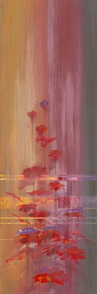 John Bate, FADED MEMORIES II (Abstrakte Kunst, floral, Blumen,  Treppenhaus, Wohnzimmer, Wunschgröße, modern, zeitgenössische Malerei, bunt)
