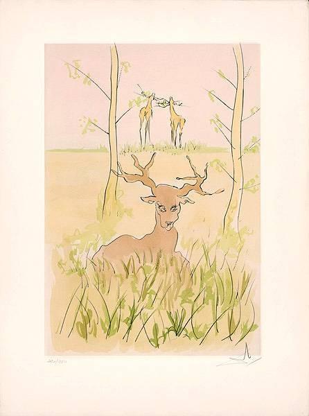 Dali Salvador 659 Der kranke Hirsch (1974) (Radierung, handsigniert, nummeriert) (Grafik, Hirsche, Tiere, Bäume, Klassische Moderne, Fantasie, Wohnzimmer, Treppenhaus, Original, signiert, bunt)