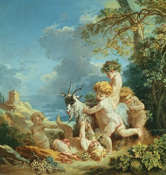 Francois Boucher, Autumn, 1731 (oil on canvas) (Putten, Kinder, Ziegenbock, ländlich, bäuerlich, Genre, idealisiert, Idylle, Herbst, Landschaft, Rokoko, Malerei, Klassiker, Wunschgröße, Wohnzimmer, Schlafzimmer, bunt)
