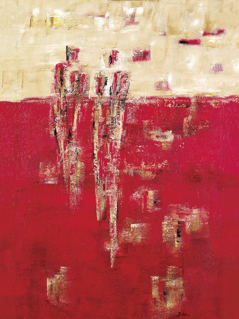 Sylvia Goebel, Von dort aus (Abstrakte Malerei, Abstrakte Kunst, Personen, Menschen, Figurativ, diffus, Wohnzimmer, Büro, Business, bunt)