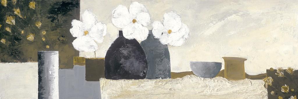 Ruby Henning, White Flowers (Blumenvase, Blumen, Blüten, Stillleben, moderne Malerei, dekorativ, zeitgenössisch, Wohnzimmer, Schlafzimmer, Treppenhaus, bunt)