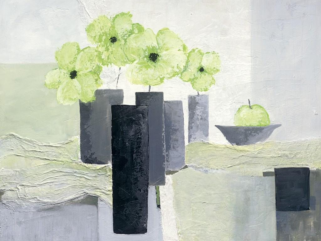Ruby Henning, Green Spirit (Blumenvase, Blumen, Blüten, Stillleben, moderne Malerei, dekorativ, zeitgenössisch, Wohnzimmer, Schlafzimmer, Treppenhaus, grau/grün)
