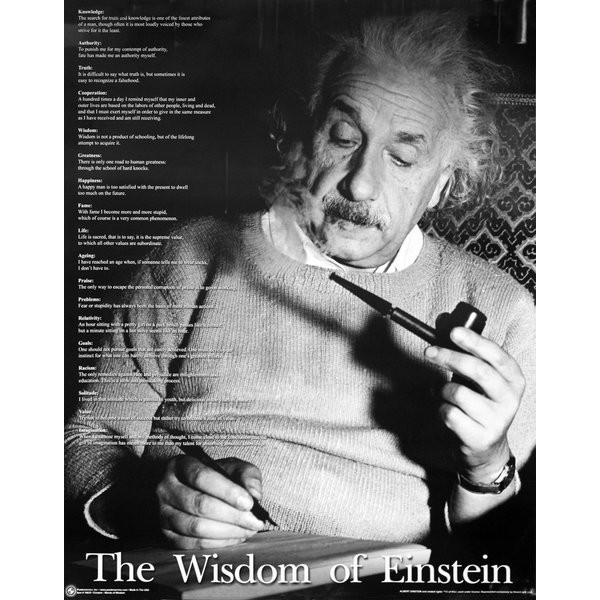 Albert Einstein, Zitate Einsteins, The Wisdom of Einstein (Albert Einstein, Portrait, Gesicht, Wissenschaftler, Zitat, Spruch, Weisheit, Treppenhaus, Wohnzimmer, Fotokunst, schwarz/weiß)