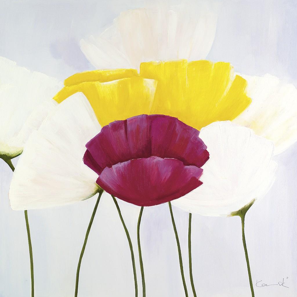 Sonja Kaminski, In Bluer Skies (Blumen, Blüten, Mohn, Floral, Wohnzimmer, Esszimmer, Malerei, bunt)