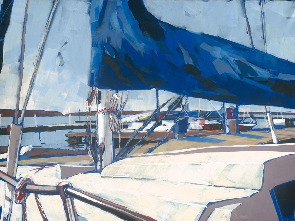 Daniela Lüers, Takelagen (Boote, Segelboote, Hafen, Wassersport, Meeresbrise, modern, zeitgenössische Malerei, Treppenhaus, Wohnzimmer, bunt)