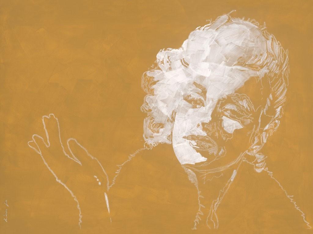 Daniela Lüers, Blond I (Marilyn Monroe, Portrait, Studie, Filmikone, modern, zeitgenössische Malerei, Treppenhaus, Wohnzimmer, gold/beige)