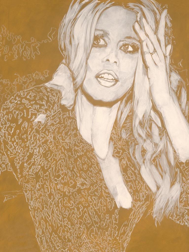 Daniela Lüers, Blond II (Brigitte Bardot, Portrait, Studie, Filmikone, modern, zeitgenössische Malerei, Treppenhaus, Wohnzimmer, gold/beige)