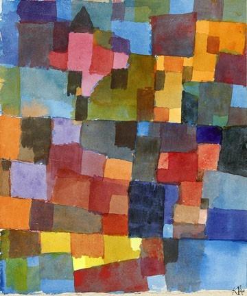 Leinwandbild Paul Klee - Raumarchitektur (Malerei, Konstruktivismus,  geometrische Formen, Vierecke, Quadrate, Farbflächen, Klassische Moderne,  Wohnzimmer, Arztpraxis, Büro, Business, bunt)