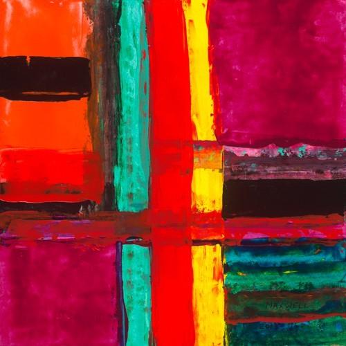 Leinwandbild Maxwell - Vacanes á Miami (Abstrakte Malerei, geometrische Muster, Linien, Rechtecke, leuchtend, Büro, Business, Wohnzimmer, modern, bunt)