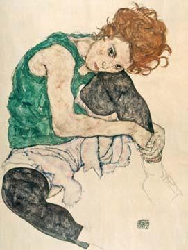 Leinwandbild Egon Schiele - Sitzende Frau (Malerei, Frau, nachdenklich, melancholisch, lasziv, Klassische Moderne, People & Eros, Expressionismus, Wohnzimmer, Schlafzimmer, bunt)
