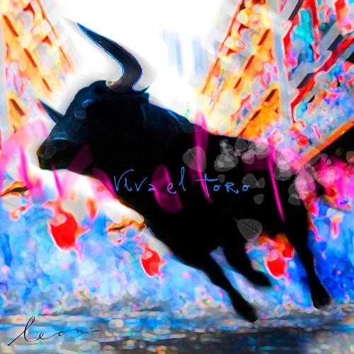 Leinwandbild Leon Bosboom - Viva el Toro (Stier, Bewegung, Kraft, Energie, Jubel, Leuchtfarben, figurativ, Modern, Wohnzimmer, Jugendzimmer, Malerei, zeitgenössische Malerei, neon / bunt)