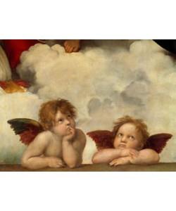 Leinwandbild Raffael - Zwei Engel (Klassiker, Sixtinische Madonna, Engel, Putte, Renaissance, Malerei, Wohnzimmer, Schlafzimmer, Treppenhaus,  bunt)