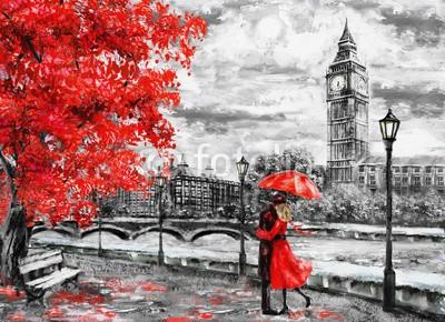 lisima, oil painting on canvas, street of london. Artwork. Big ben. man and woman under an red umbrella. Tree. England. Bridge and river (wandbild, abstraktion, architektur, kunst, kunstvoll, artwork, herbst, hintergrund, big ben, schwarz, britischer, gebäude, canvas, stadt, wolkengebilde, zeichnung, england, englisch, europäisch, berühmt, abbildung, eindrucksvoll, orientierungspunk)