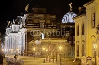 Blickfang, Brühler Terassen  Dresden HDR bei Nacht (dresden, beleuchtung, nacht, sachsen, hauptstadt, elba, spiegelung, kuppe)